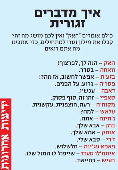 מילון מרוקאית עברית נוסח זגורי